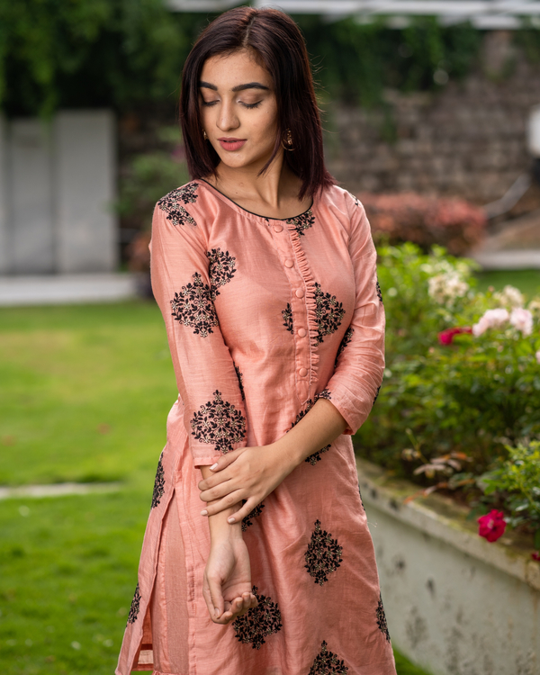 Coral embroidered kurta with sharara pants - Set of two 1