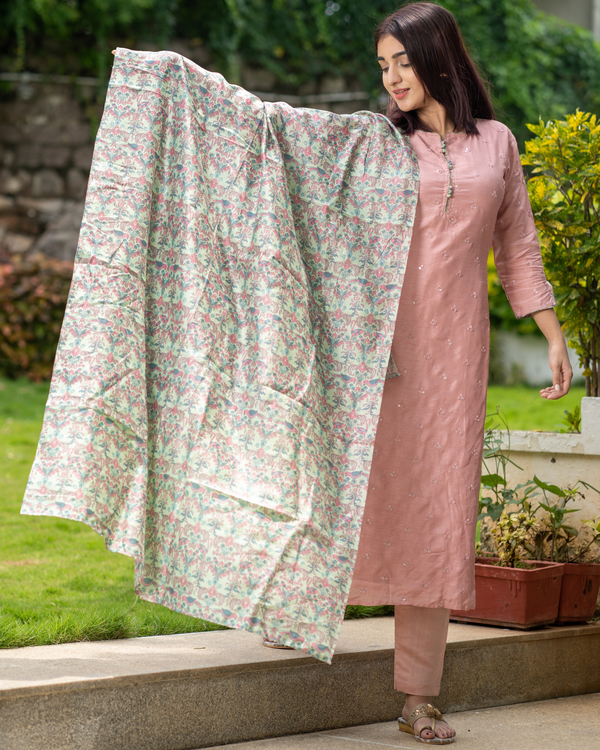Pink embroidered kurta and pant with bird printed dupatta - set of three 3