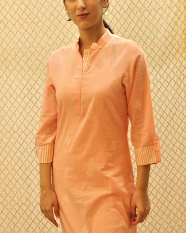 Pink kurta with striped roll up sleeves 1