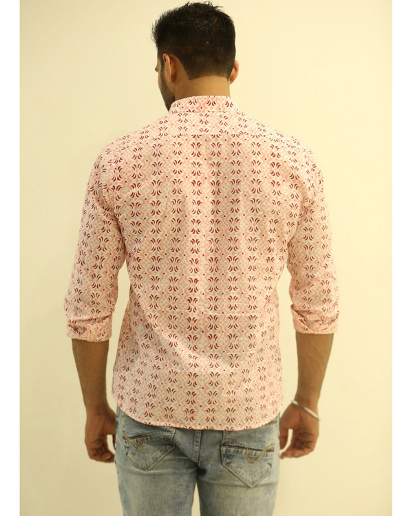 Pink and Red Hand block Printed Shirt 2