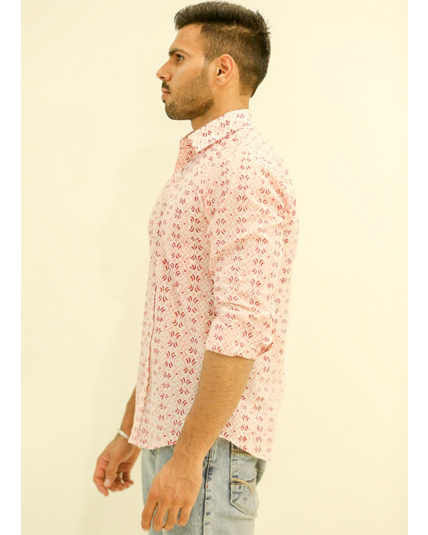 Pink and Red Hand block Printed Shirt 1