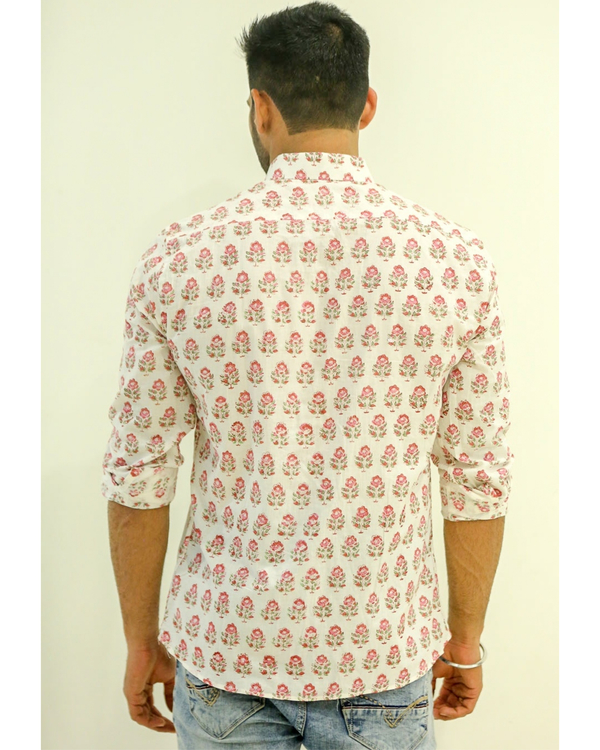 White and Pink Floral Printed Shirt 2