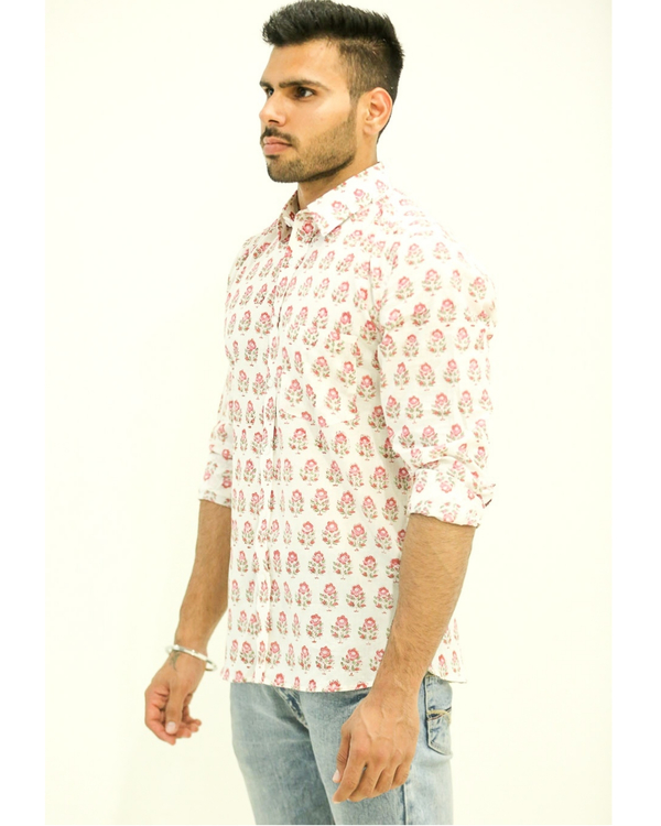 White and Pink Floral Printed Shirt 1