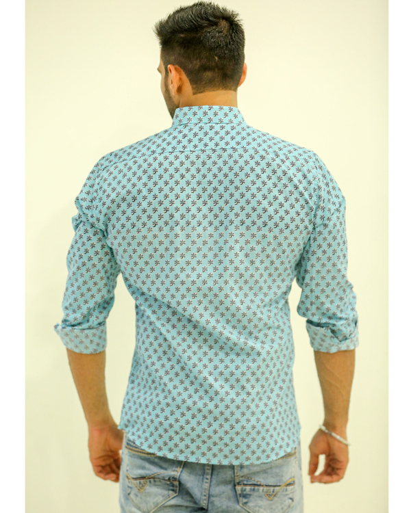 Light Blue Flower Printed Shirt 2