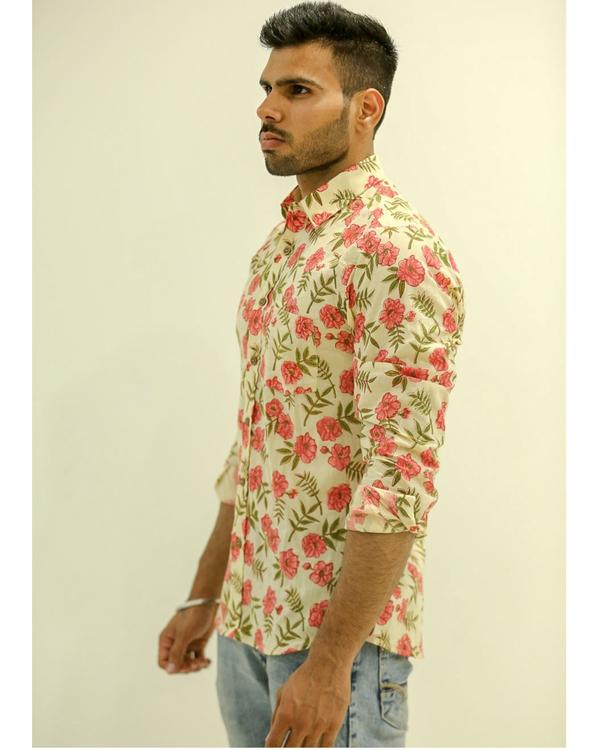 Cream Floral Printed Shirt 1
