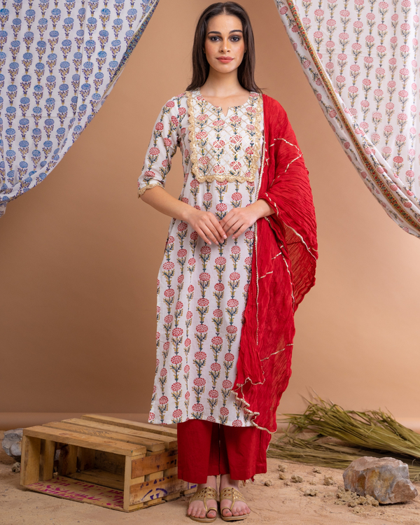 Hand block printed red suit set with crinkled dupatta - set of three 1