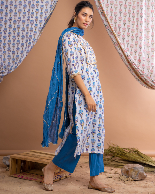 Hand block printed blue suit set with crinkled dupatta - set of three 2