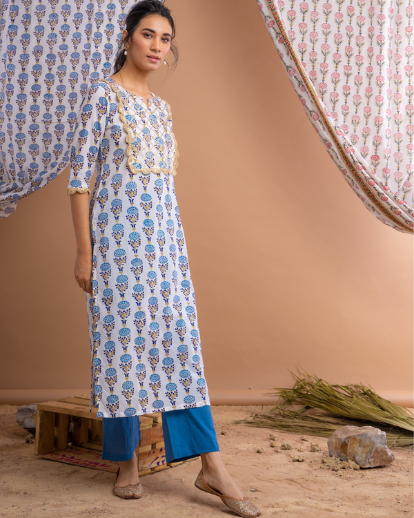 Hand block printed blue suit set with crinkled dupatta - set of three 1