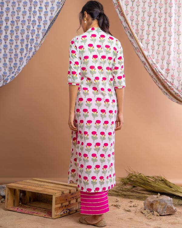 Pink poppy motif suit set with gota detailed chanderi dupatta - set of three 4