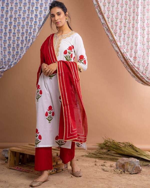 Red mughal motif suit set with dupatta - set of three 3