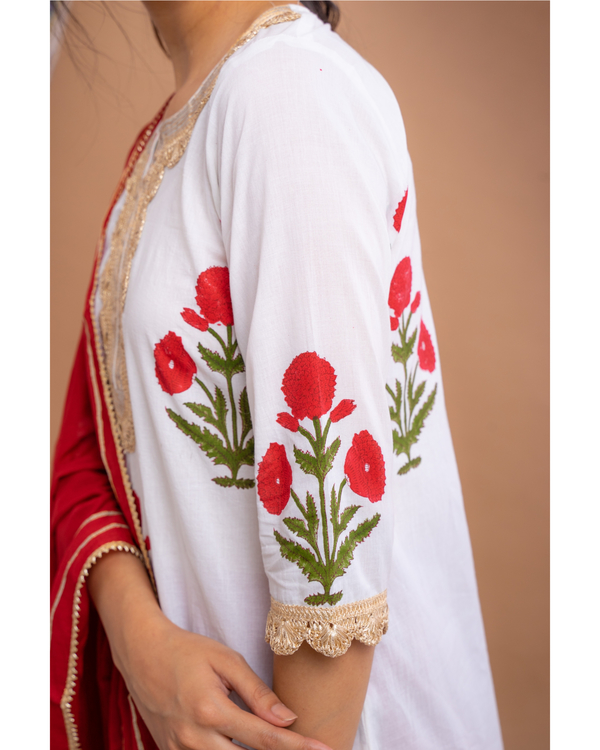 Red mughal motif suit set with dupatta - set of three 2