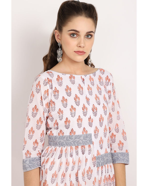 Ivory flower printed cape with grey panel embroidery 1