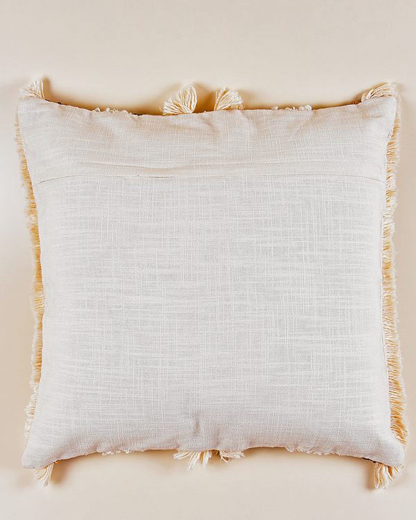 Gold and cream fringed cushion cover 2