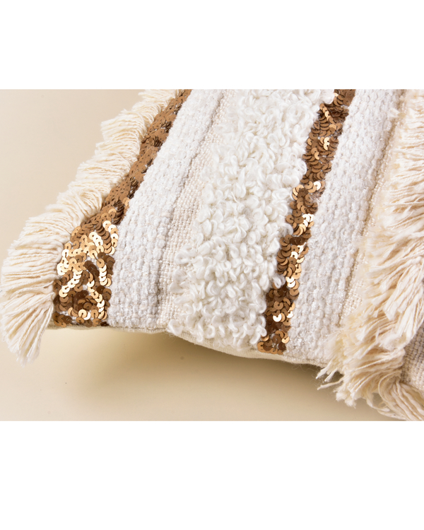 Gold and cream fringed cushion cover 1