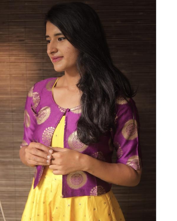 Yellow silk dress with purple jacket - set of two 3