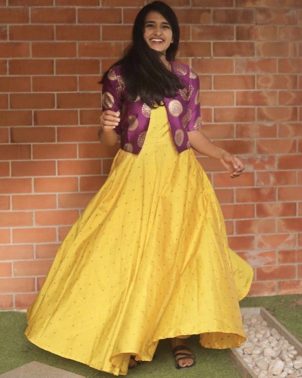 Yellow silk dress with purple jacket - set of two 2