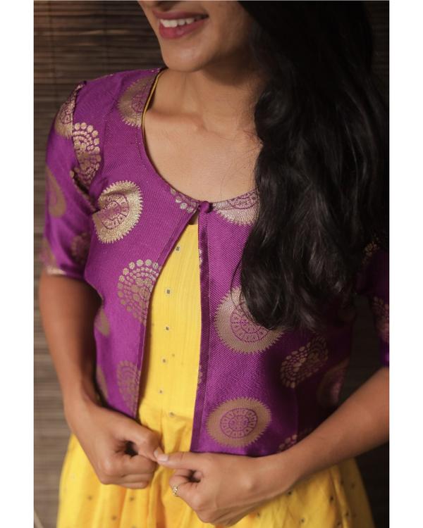 Yellow silk dress with purple jacket - set of two 1