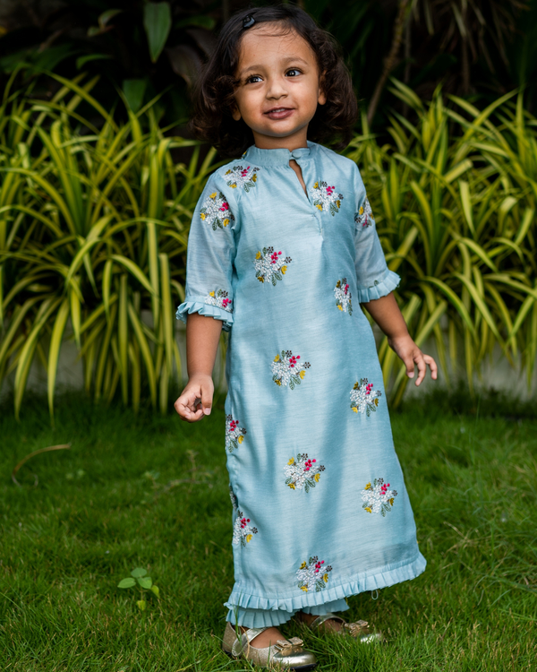 Baby Blue embroidered kurta with pants - Set of Two 1