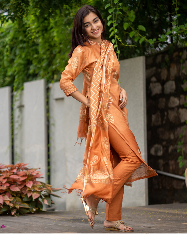 Orange Chanderi Cotton Suit Set with Gold Printed Motifs - Set of Three 5