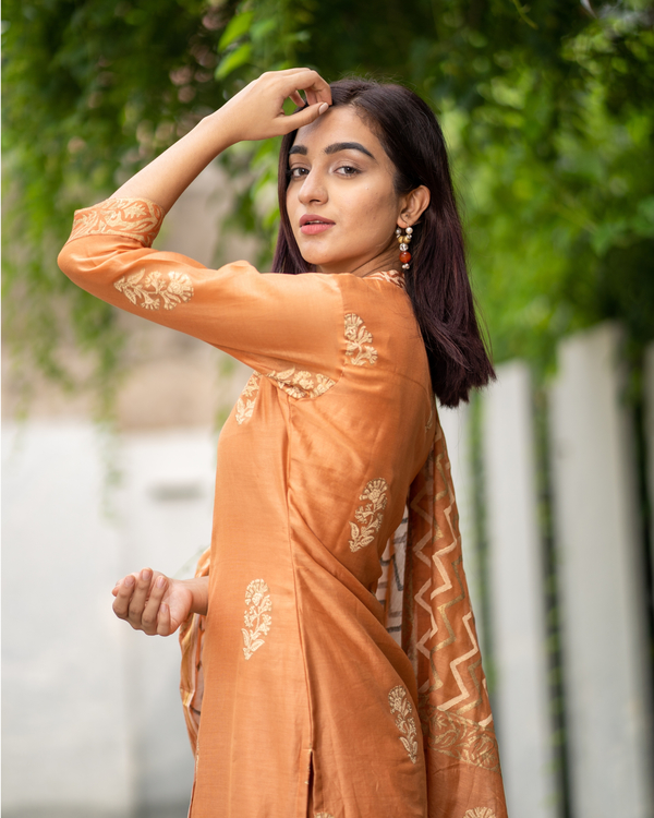 Orange Chanderi Cotton Suit Set with Gold Printed Motifs - Set of Three 4