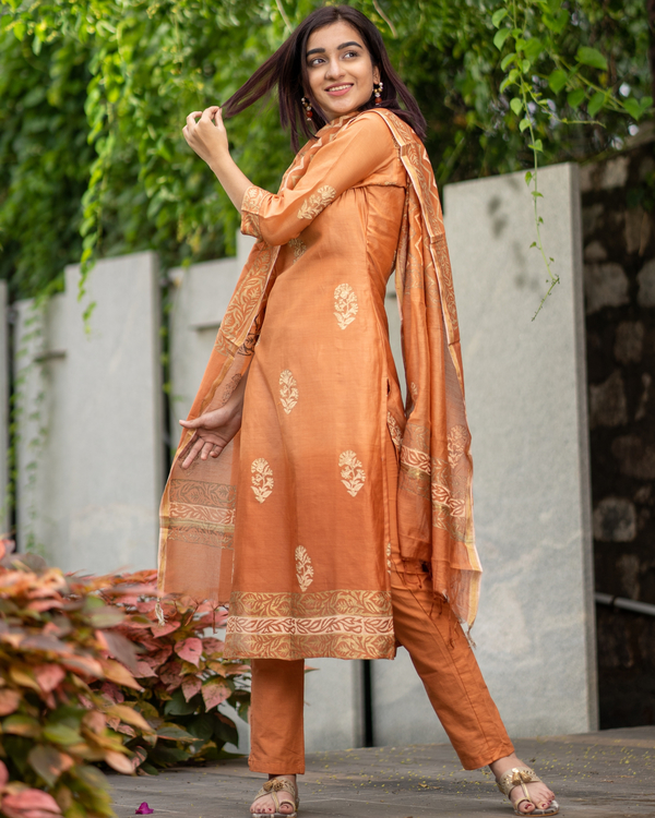 Orange Chanderi Cotton Suit Set with Gold Printed Motifs - Set of Three 3