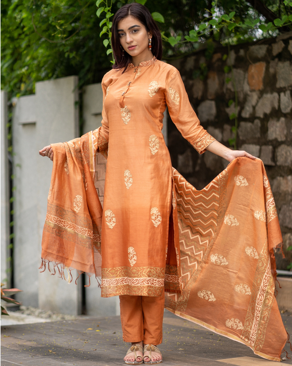 Orange Chanderi Cotton Suit Set with Gold Printed Motifs - Set of Three 1