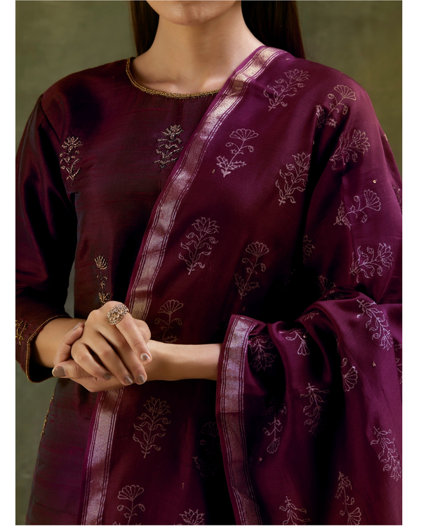 Wine aari embroidered raw silk kurta set with dupatta- Set of three 4