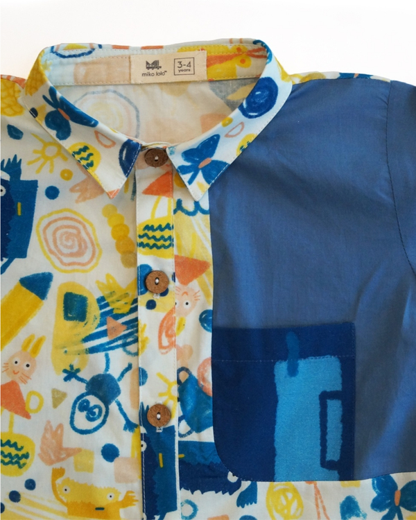 Scridoodle shirt with contrast printed pocket 1