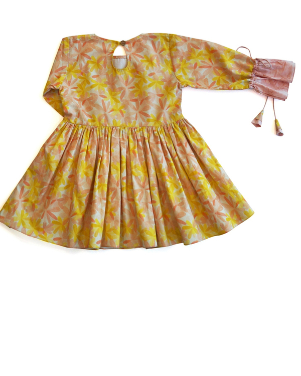 Apricot blooms gathered dress 3