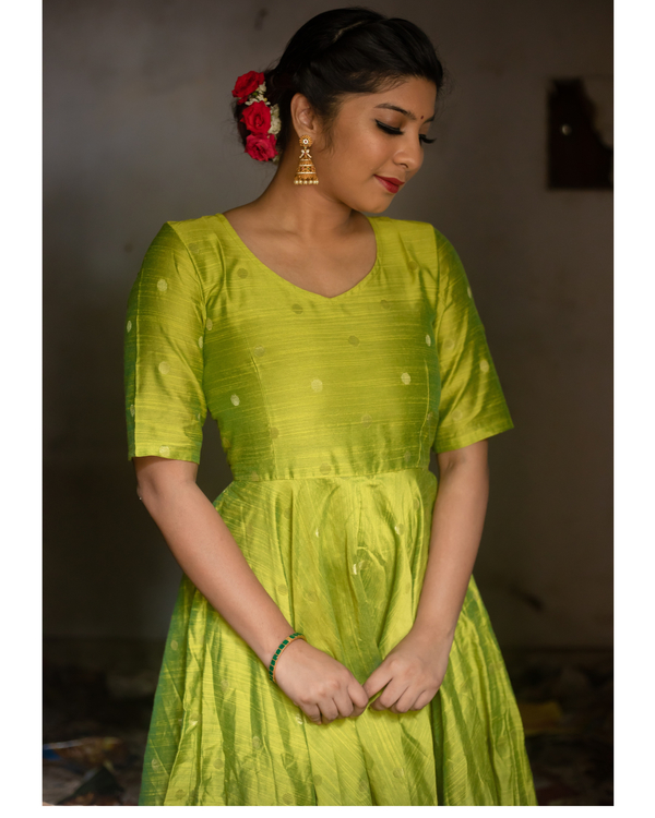 Lime green anarkali dress 2
