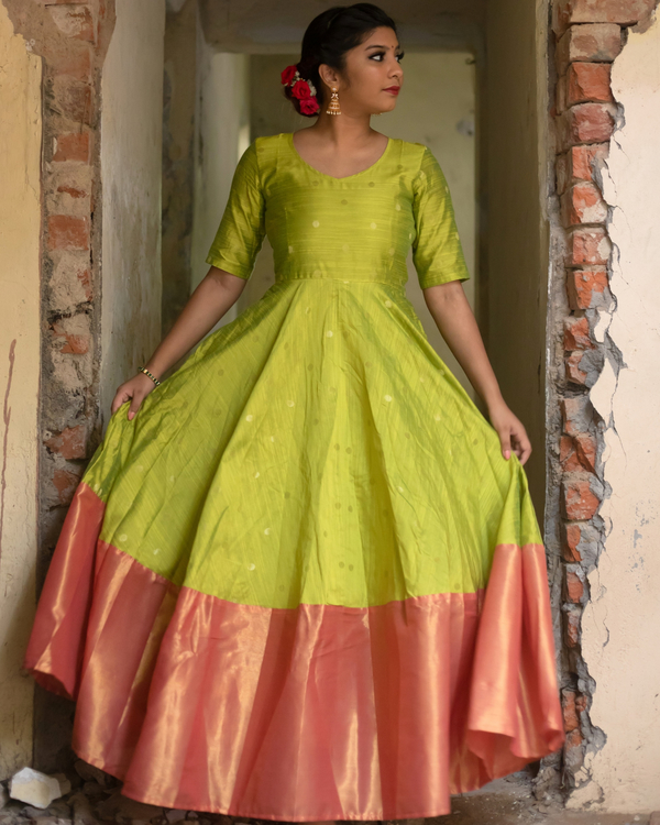 Lime green anarkali dress 1