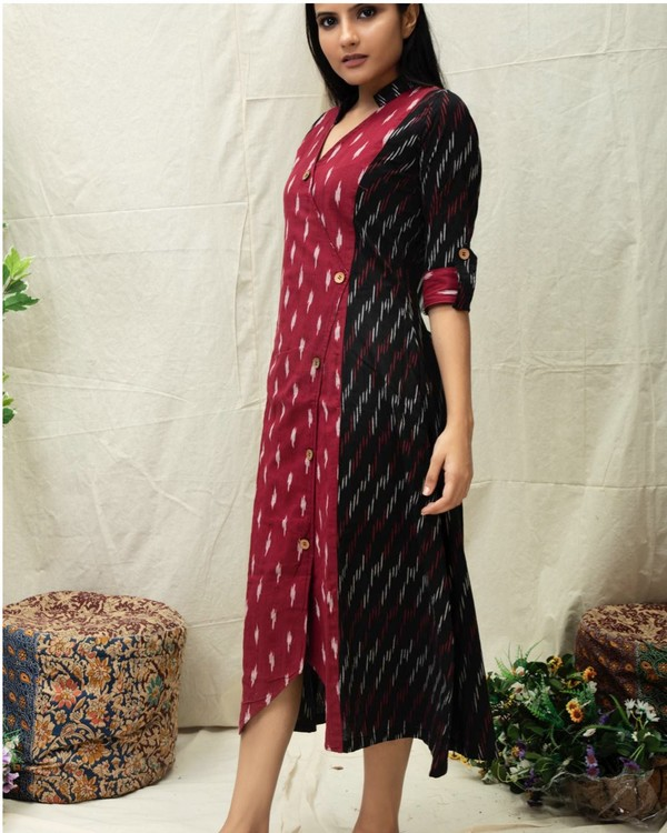 Black and maroon paneled Angrakha kurta 2