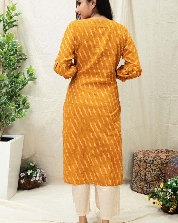 Mustard Yellow Ikat printed kurta 3
