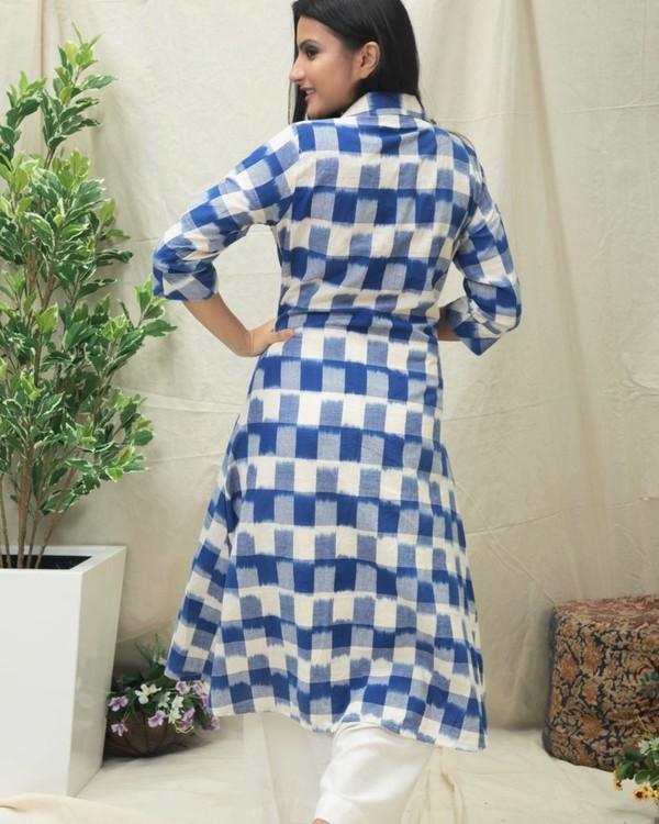 Blue checkered Ikat printed kurta 3