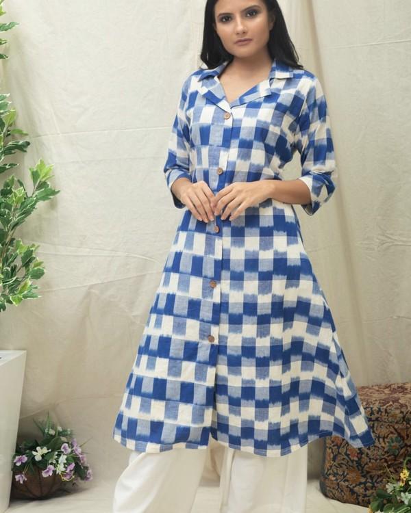 Blue checkered Ikat printed kurta 2