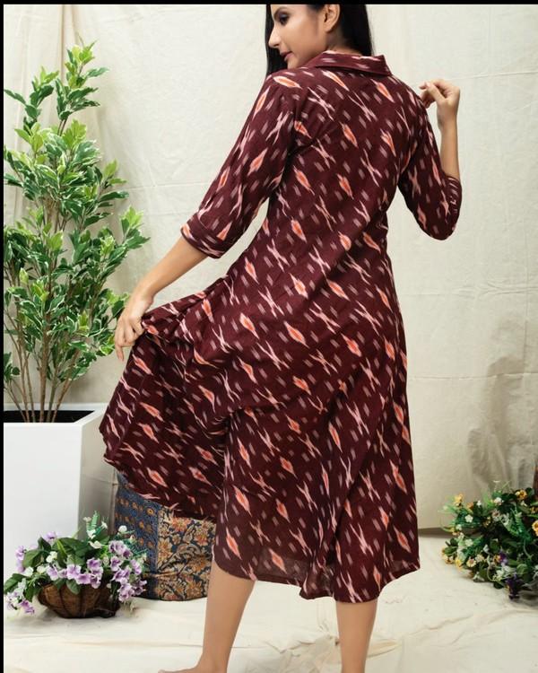 Wine Ikat printed flared dress 3