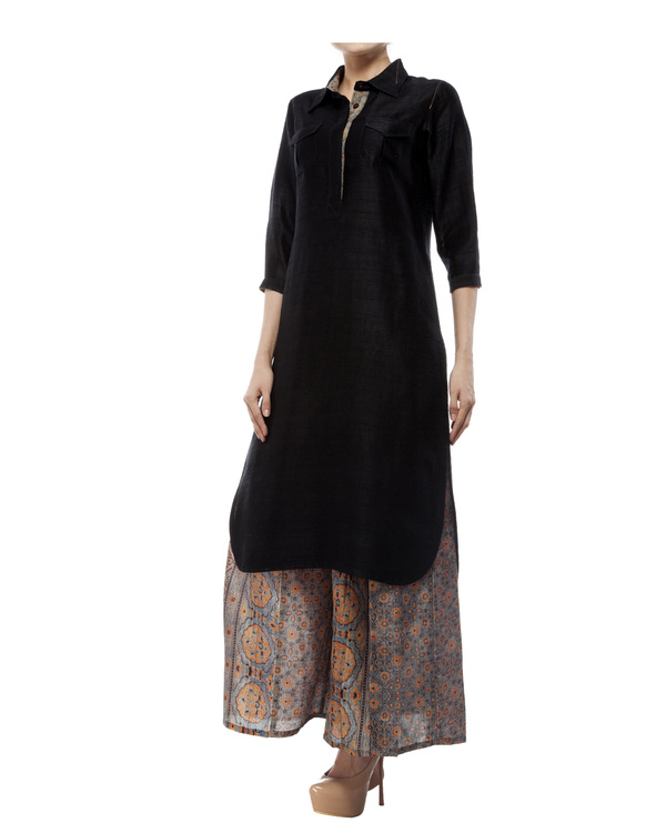 Black tunic with ajrakh detailing 1