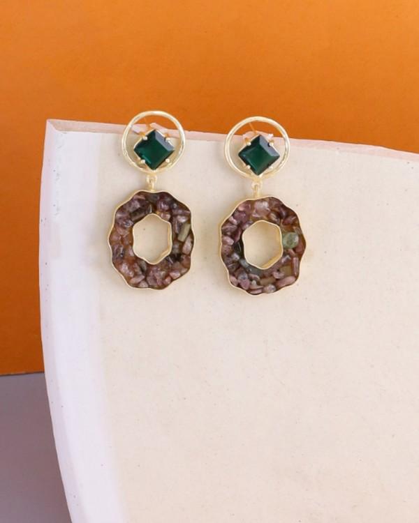 Fern green crystalline statement earring 2