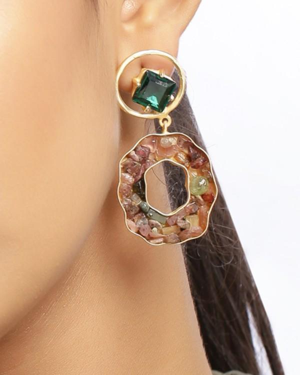 Fern green crystalline statement earring 1