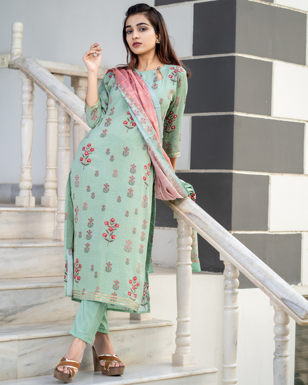 Pistachio Green Embroidered Suit Set with Pink Dupatta - Set of Three 2