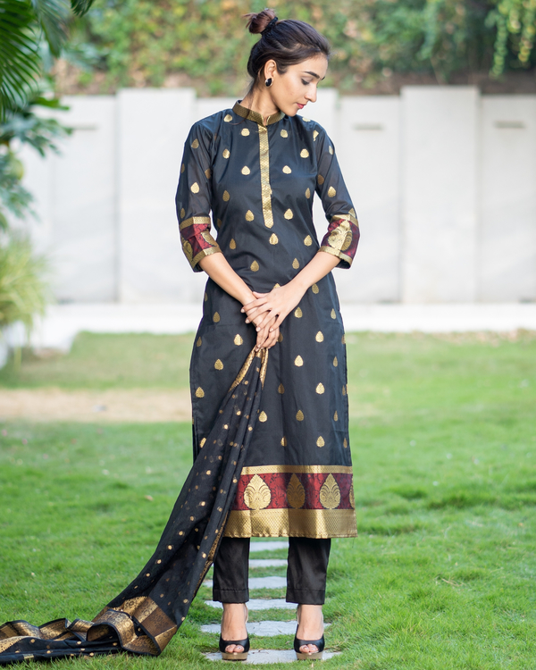 Black and Gold Motifs Suit Set with Dupatta - Set of Three 2