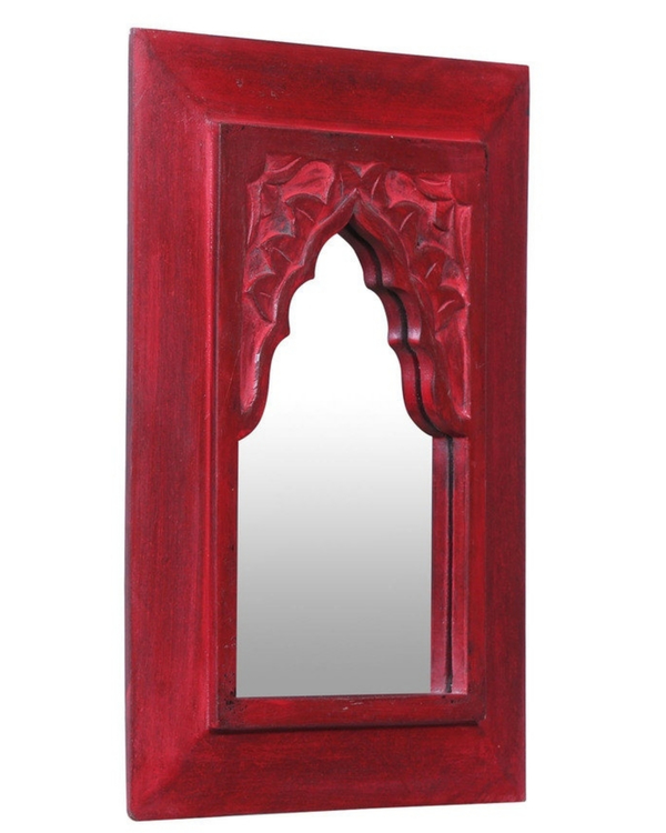 Vintage red carved minaret mirror 2