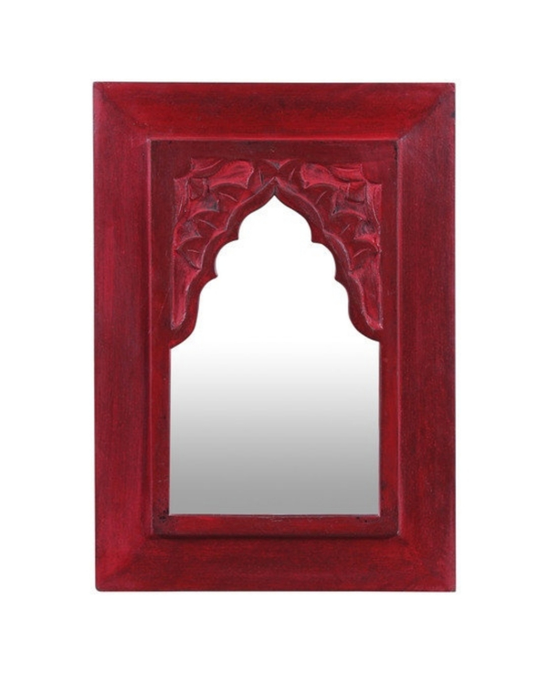 Vintage red carved minaret mirror 1