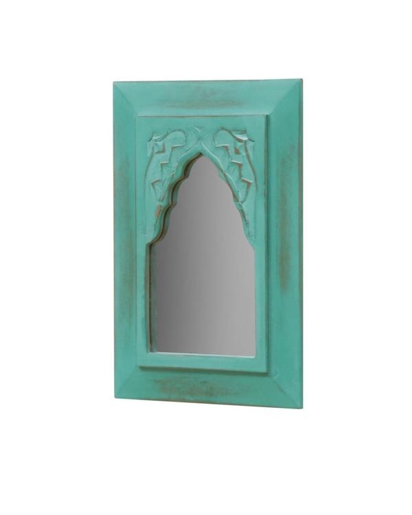 Vintage teal green carved minaret mirror 1