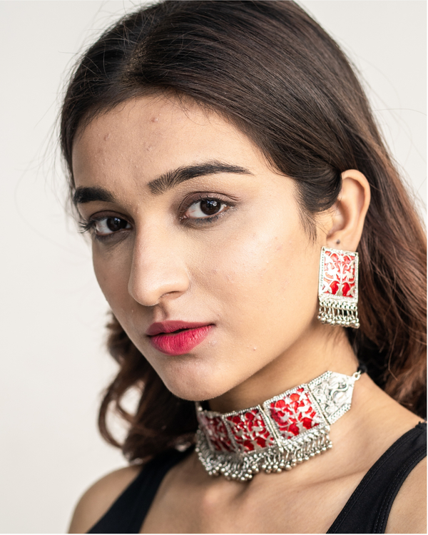 Red geometric neck piece and earrings set 1