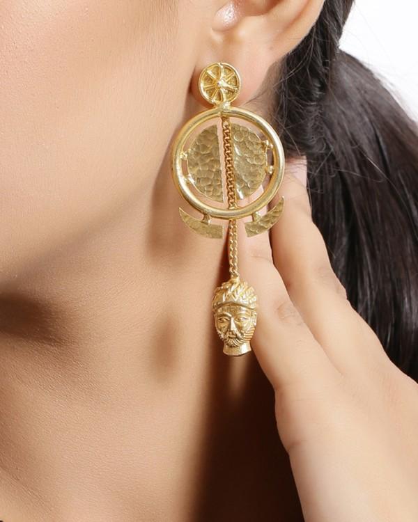 Golden bana charm earrings 1