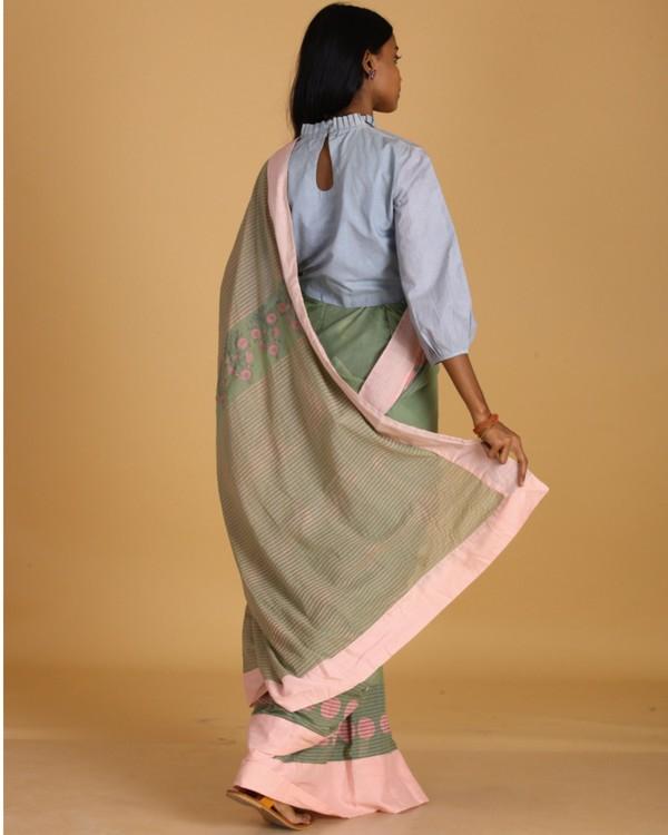 Pastel green dragon fly block printed sari 3