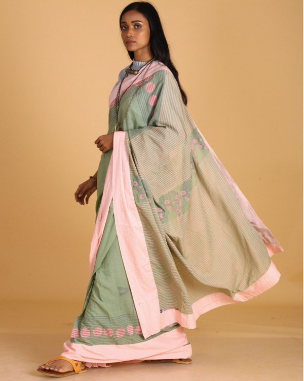 Pastel green dragon fly block printed sari 2