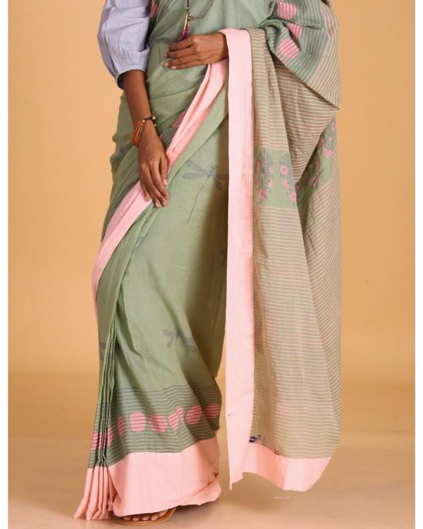 Pastel green dragon fly block printed sari 1