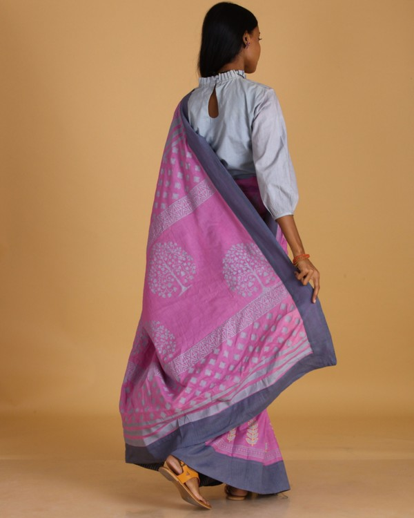 Pink block printed cotton sari 2